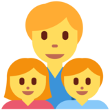 Family: Man, Girl, Boy on Twitter Twemoji 12.1