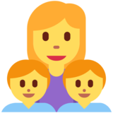 Family: Woman, Boy, Boy on Twitter Twemoji 12.1