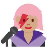 Woman Singer: Medium Skin Tone on Twitter Twemoji 12.1