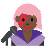 Woman Singer: Dark Skin Tone on Twitter Twemoji 12.1