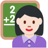 Woman Teacher: Light Skin Tone on Twitter Twemoji 12.1