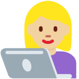 Woman Technologist: Medium-Light Skin Tone on Twitter Twemoji 12.1
