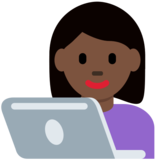 Woman Technologist: Dark Skin Tone on Twitter Twemoji 12.1