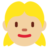 Girl: Medium-Light Skin Tone on Twitter Twemoji 12.1