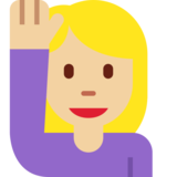 Person Raising Hand: Medium-Light Skin Tone on Twitter Twemoji 12.1