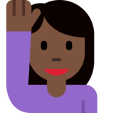 Person Raising Hand: Dark Skin Tone on Twitter Twemoji 12.1