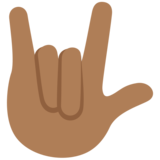 Love-You Gesture: Medium-Dark Skin Tone on Twitter Twemoji 12.1