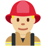 Man Firefighter: Medium-Light Skin Tone on Twitter Twemoji 12.1