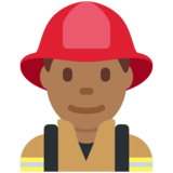 Man Firefighter: Medium-Dark Skin Tone on Twitter Twemoji 12.1