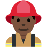 Man Firefighter: Dark Skin Tone on Twitter Twemoji 12.1