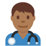 Man Health Worker: Medium-Dark Skin Tone on Twitter Twemoji 12.1
