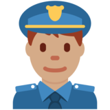 Man Police Officer: Medium Skin Tone on Twitter Twemoji 12.1