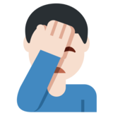 Man Facepalming: Light Skin Tone on Twitter Twemoji 12.1