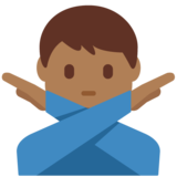 Man Gesturing No: Medium-Dark Skin Tone on Twitter Twemoji 12.1