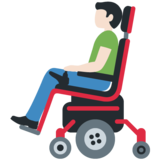 Man in Motorized Wheelchair: Light Skin Tone on Twitter Twemoji 12.1
