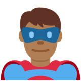 Man Superhero: Medium-Dark Skin Tone on Twitter Twemoji 12.1