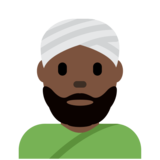 Man Wearing Turban: Dark Skin Tone on Twitter Twemoji 12.1