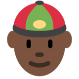 Man With Chinese Cap: Dark Skin Tone on Twitter Twemoji 12.1