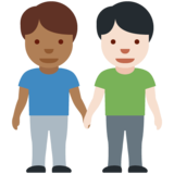 Men Holding Hands: Medium-Dark Skin Tone, Light Skin Tone on Twitter Twemoji 12.1