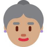 Old Woman: Medium Skin Tone on Twitter Twemoji 12.1