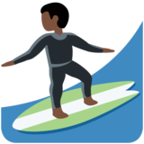 Person Surfing: Dark Skin Tone on Twitter Twemoji 12.1