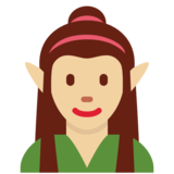 Woman Elf: Medium-Light Skin Tone on Twitter Twemoji 12.1