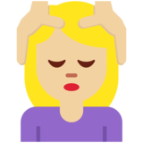Woman Getting Massage: Medium-Light Skin Tone on Twitter Twemoji 12.1