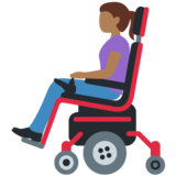 Woman in Motorized Wheelchair: Medium-Dark Skin Tone on Twitter Twemoji 12.1
