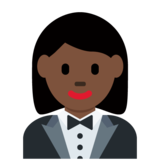 Woman in Tuxedo: Dark Skin Tone on Twitter Twemoji 12.1
