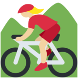 Woman Mountain Biking: Medium-Light Skin Tone on Twitter Twemoji 12.1