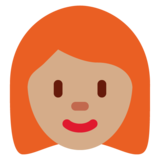 Woman: Medium Skin Tone, Red Hair on Twitter Twemoji 12.1