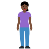 Woman Standing: Dark Skin Tone on Twitter Twemoji 12.1