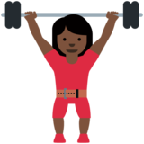 Woman Lifting Weights: Dark Skin Tone on Twitter Twemoji 12.1