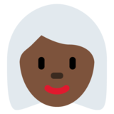 Woman: Dark Skin Tone, White Hair on Twitter Twemoji 12.1