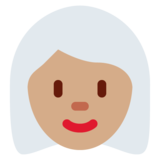 Woman: Medium Skin Tone, White Hair on Twitter Twemoji 12.1