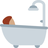 Person Taking Bath: Medium Skin Tone on Twitter Twemoji 12.1.3