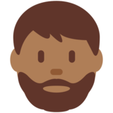 Man: Medium-Dark Skin Tone, Beard on Twitter Twemoji 12.1.3