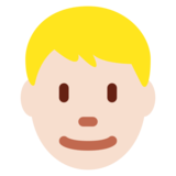 Man: Light Skin Tone, Blond Hair on Twitter Twemoji 12.1.3