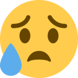 Sad but Relieved Face on Twitter Twemoji 12.1.3