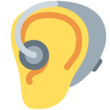 Ear with Hearing Aid on Twitter Twemoji 12.1.3
