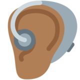 Ear With Hearing Aid: Medium-Dark Skin Tone on Twitter Twemoji 12.1.3