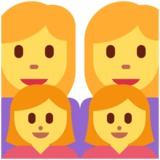 Family: Woman, Woman, Girl, Girl on Twitter Twemoji 12.1.3