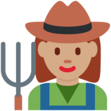 Woman Farmer: Medium Skin Tone on Twitter Twemoji 12.1.3