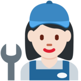 Woman Mechanic: Light Skin Tone on Twitter Twemoji 12.1.3