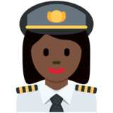 Woman Pilot: Dark Skin Tone on Twitter Twemoji 12.1.3