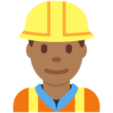 Man Construction Worker: Medium-Dark Skin Tone on Twitter Twemoji 12.1.3