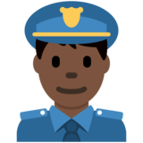 Man Police Officer: Dark Skin Tone on Twitter Twemoji 12.1.3
