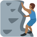 Man Climbing: Medium-Dark Skin Tone on Twitter Twemoji 12.1.3