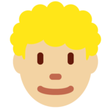 Man: Medium-Light Skin Tone, Curly Hair on Twitter Twemoji 12.1.3