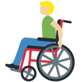 Man in Manual Wheelchair: Medium-Light Skin Tone on Twitter Twemoji 12.1.3